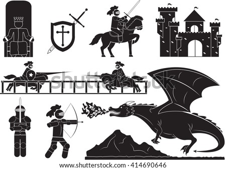 Collection of horses and knights - Illustration - stock vector