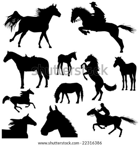 Collection of horses part 3. - stock vector