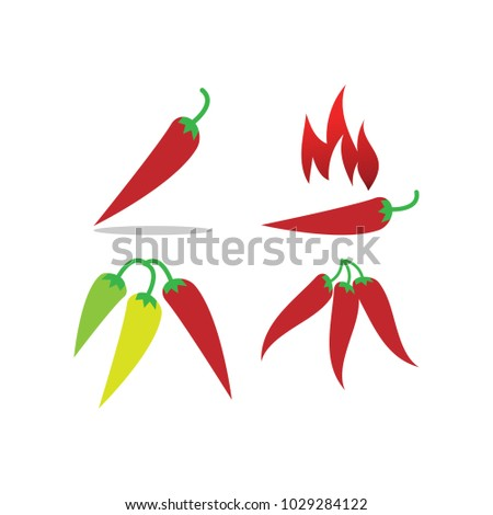 Collection Hot Chili Pepper Graphic Template Stock Photo (Photo ...
