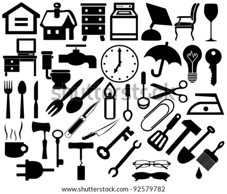Collection of household. Home appliances icons. Furniture icons - stock vector
