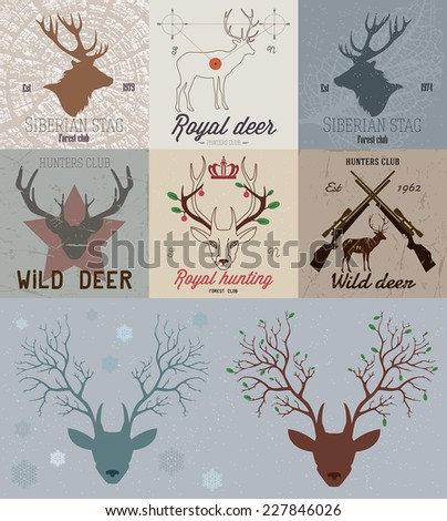 Collection of hunting the logo. Deer hunting Logo sign. Deer head logo. Labels and design elements of camp, recreation, hunting: deer, silhouette, gun, horns, design elements.  - stock vector