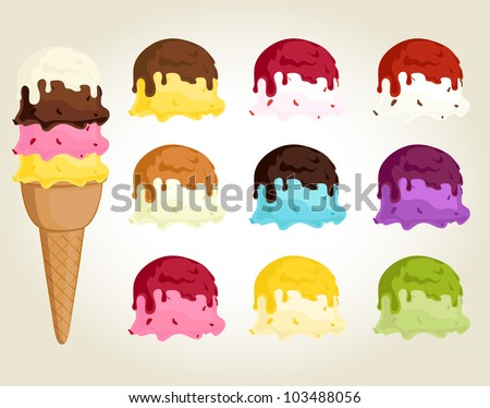 Collection of ice cream with different taste topping - stock vector