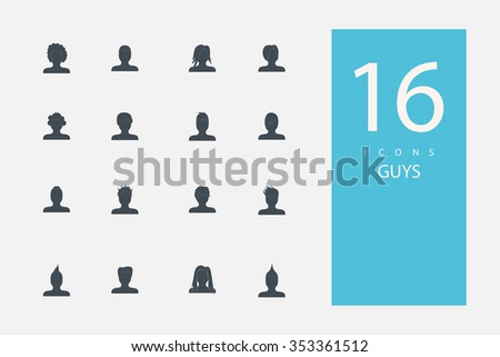 collection of icons in style flat gray color on topic  men's hairstyles - stock vector