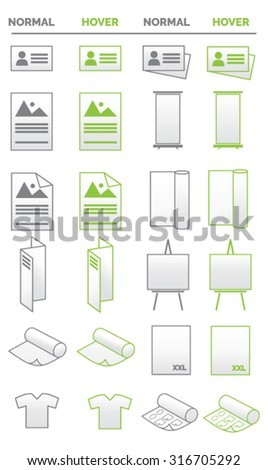Collection of icons - media, promotion, business and print related - stock vector