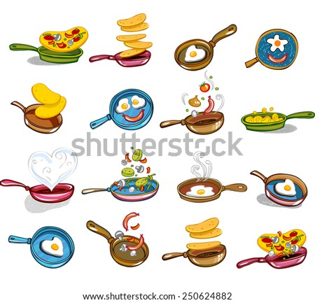 Collection of icons of a frying pan with tasty food - stock vector