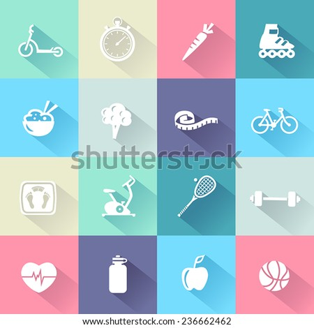 Collection of icons representing healthy lifestyle, sports and fitness activities in flat design style. - stock vector