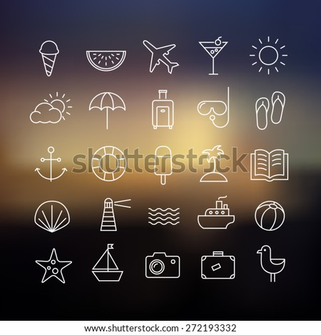 Collection of icons representing summer, travel, sea, beaches and relax on a blurred background. Modern, thin lines style. - stock vector