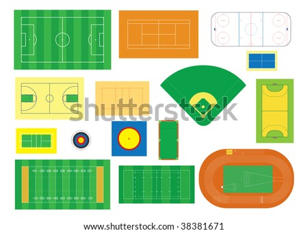 Collection of indoor and outdoor sports fields - stock vector