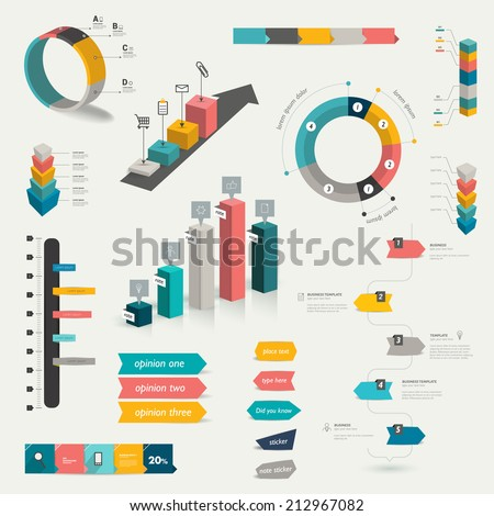 Collection of infographics elements. Colorful set template.  - stock vector