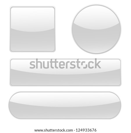 Collection of isolated blank buttons in different shapes vector. - stock vector