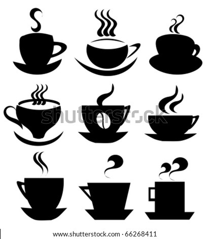Collection of isolated coffee  cups shapes vector icons or logos for design - stock vector