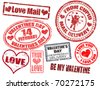 Collection of isolated grunge Valentine's Day stamps on white background - stock vector