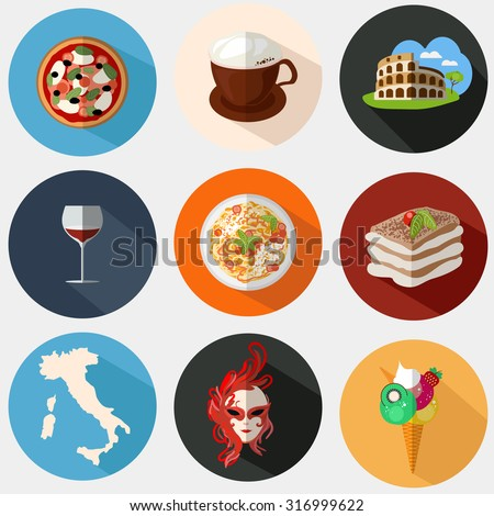Collection of Italian icons in flat style. Vector illustration of pizza, pasta, Coliseum, coffee, mask, wine, tiramisu, map of Italy. European concept for advertisement, cafes and restaurants. - stock vector