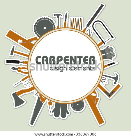 Collection of joiner's tools. Tools for repair. Vector illustration in flat style - stock vector