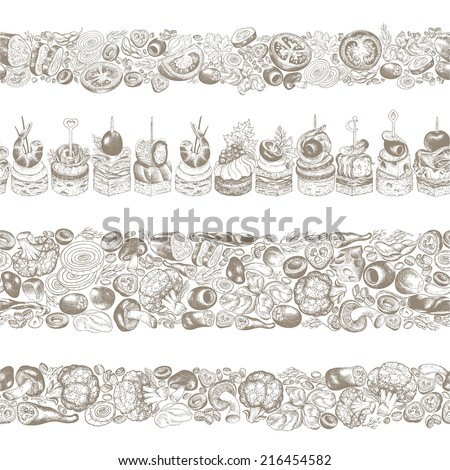 Collection of kitchen seamless horizontal borders, hand-drawn illustration in vintage style. - stock vector