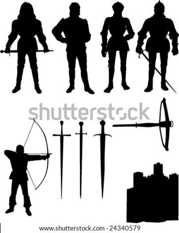 collection of knight - vector