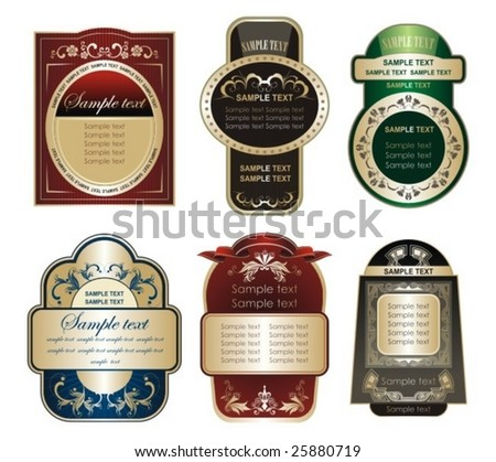 collection of labels - stock vector