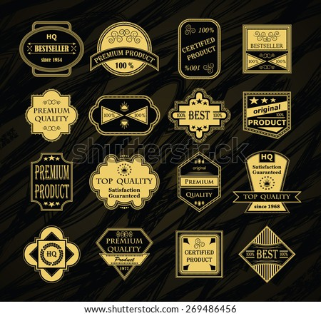 Collection of labels. Luxury design. Premium quality labels     - stock vector