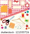 Collection of labels, sewing and knitting tools. - stock vector