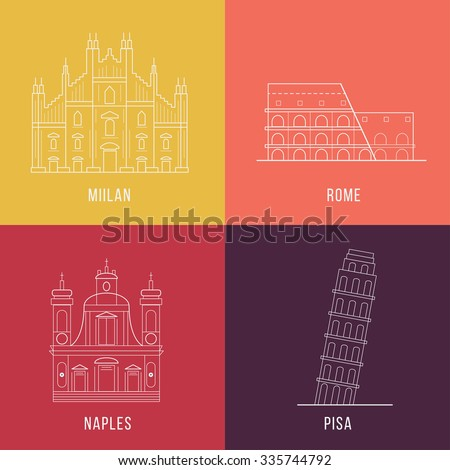 "Collection of landmarks of Italy made in vector. Coliseum in Rome, Cathedral ""Duomo"" in Milan, tower of Pisa, Church and ""Girolamini"" in Naples. Modern Line Style. Perfect icon for for postcard. - stock vector"
