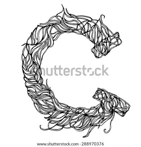 collection of letters of herbs close-up isolated on white background. Letter C. Can be used as adult coloring book, coloring page. - stock vector