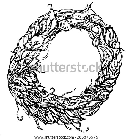 collection of letters of herbs close-up isolated on white background. Letter O. Can be used as adult coloring book, coloring page. - stock vector