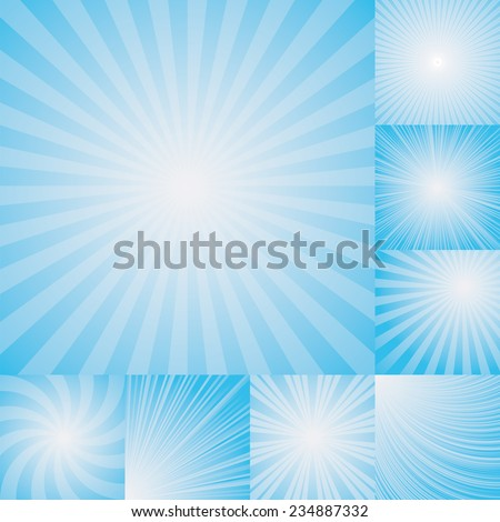 collection of light blue color burst background. Vector illustration - stock vector