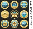 Collection of light blue top quality badges with gold border - stock vector