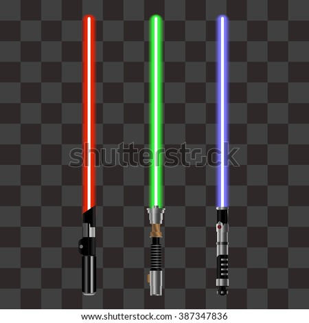 Collection of Light Futuristic Swords from Star Wars. Design Elements for Your Projects. Vector illustration. - stock vector