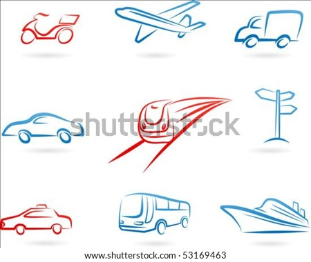 Collection of line-art transportation icons - stock vector