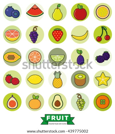 Collection of line fill fruit icons in green circles on white background - stock vector