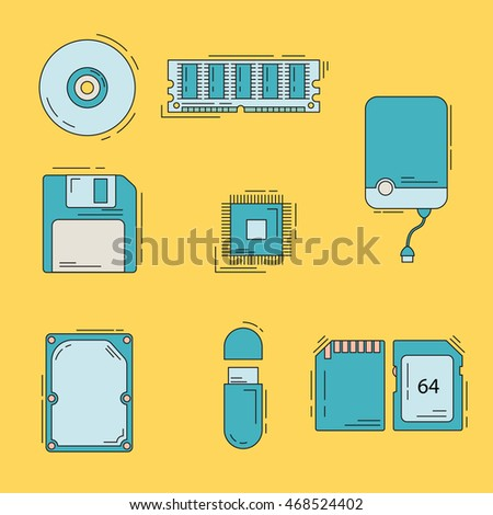 Collection of line style memory storage icons. Physical memory, main memory, flash drive, hard drive.