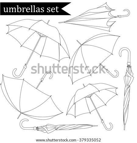 Collection of linear black-and-white umbrellas, isolated on white background, vector illustration. - stock vector