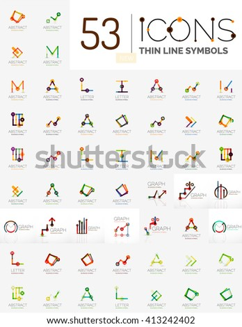 Collection of linear business logos - charts letters and abstract universal shapes. Growing stats finance concepts, clean modern symbols, graphs. Branding logotype company emblem ideas and branding - stock vector