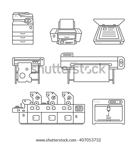 Collection of linear,flat Offset Printer,3D printer,Scanner,Laser printer,Plotter machine,Cutting plotter,InkJet printer,Copy Machine,photo,large format Printer.Vector illustration. Isolated on white - stock vector