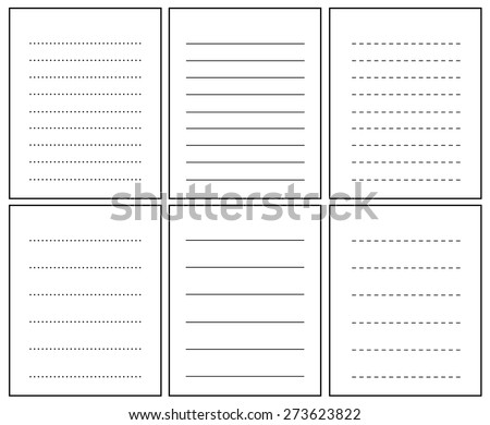 Collection of lined notebook pages - stock vector