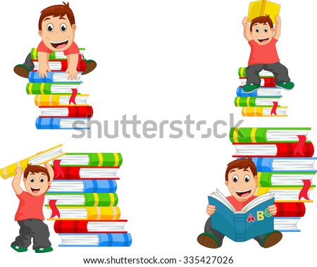 Collection of little boy with books - stock vector
