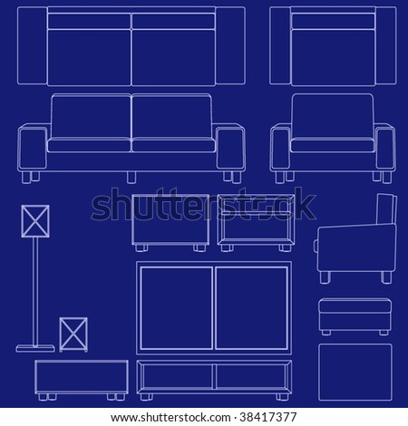 Collection living room furniture blueprint vector stock vector collection of living room furniture in blueprint vector style malvernweather Choice Image