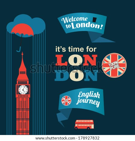 collection of London stickers - stock vector