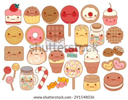 Collection of lovely baby sweet and dessert doodle icon , cute cake , adorable candy , sweet ice cream , kawaii jelly bean , girly cookie in childlike manga cartoon style - Vector file EPS10 - stock vector