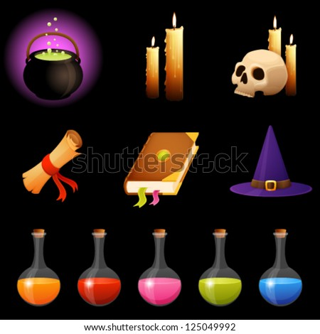 collection of magic theme illustrations or Halloween icons - transparency of flasks with potion and candle light is suitable for dark background - stock vector