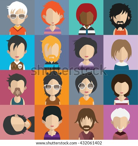 Collection of 16 Man and woman Characters Set 11 - stock vector