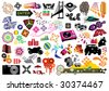 Collection of many design elements. Use to create business cards, brochures, flyers and covers. - stock vector