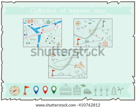 Collection of maps  (treasure map, baby map, illustration of the winter maps to find treasure, treasure map showing winter island with cars, buildings and compass star) - stock vector