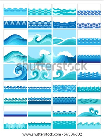 collection of marine waves, stylized design - stock vector