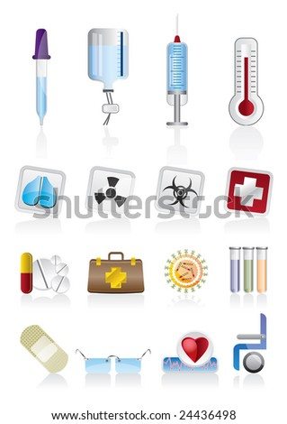 collection of  medical themed icons and warning-signs - stock vector