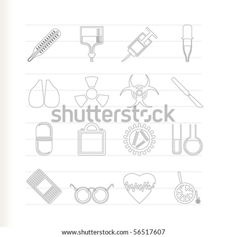 collection of  medical themed icons and warning-signs vector icon set - stock vector