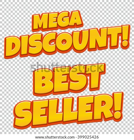 Collection of Mega Discount and Best Seller comic banner. Sale background. Poster can be used for banners, flyers, outdoor printing, web. - stock vector