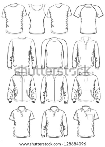Collection of men clothes outline templates. vector illustration - stock vector