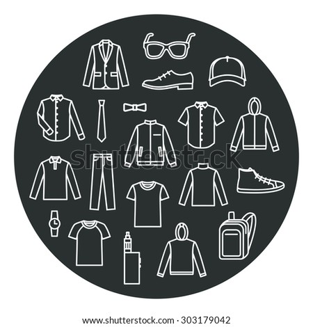 Collection of Men's Clothes and accessories. Line icons. Men's Clothing icons on black background - stock vector